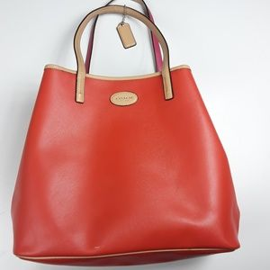 Coach Orange and Pink Tote Leather Tote